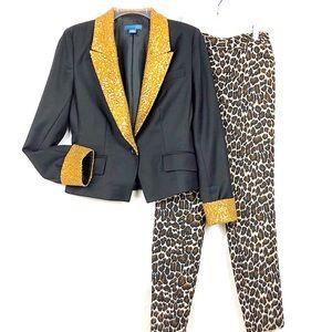 Anthropologie Black Gold Sequin Short Tux Jacket 8